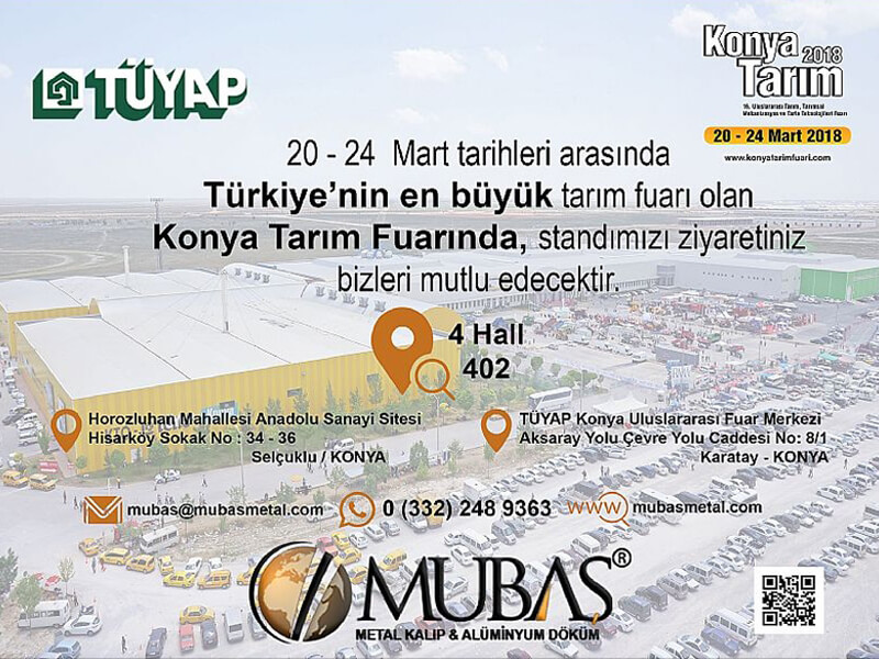 We are waiting for your attendance at our stand in hall 4 and 402 number in Konya Agriculture 2018 (Konya Tarım 2018)